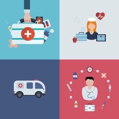 Medical help, ambulance icons