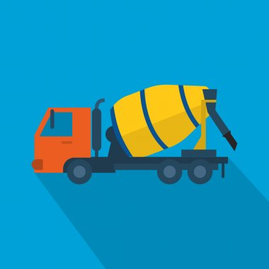 Concrete mixer truck icon.