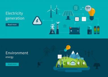 Ecology, environment and electricity generation icons