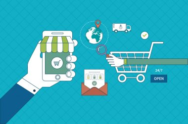 Set of online shopping and mobile marketing