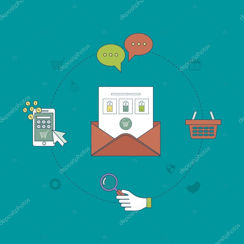 Set of email marketing, online shopping