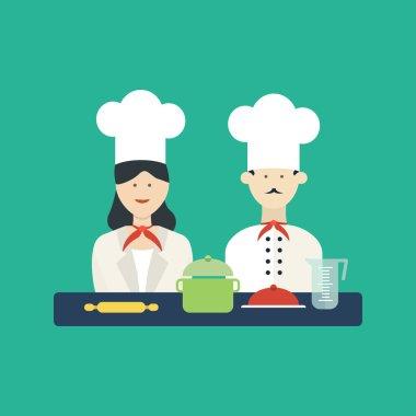 Kitchen utensils with a chefs