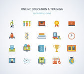 icons set of online education and training