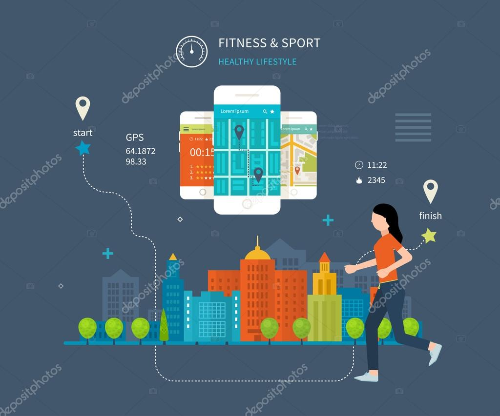 mobile phone - fitness app concept