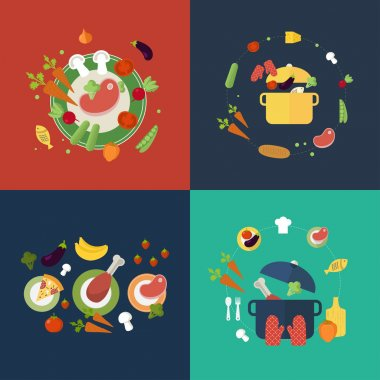 Set of flat design concept icons for food and restaurant. Icons for cooking, fruits and vegetables, vegetarian food. clip art vector