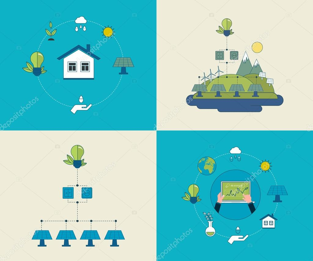Concept of running a clean house and green energy