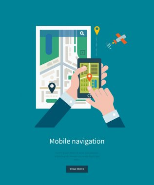 holding smartphone with mobile navigation