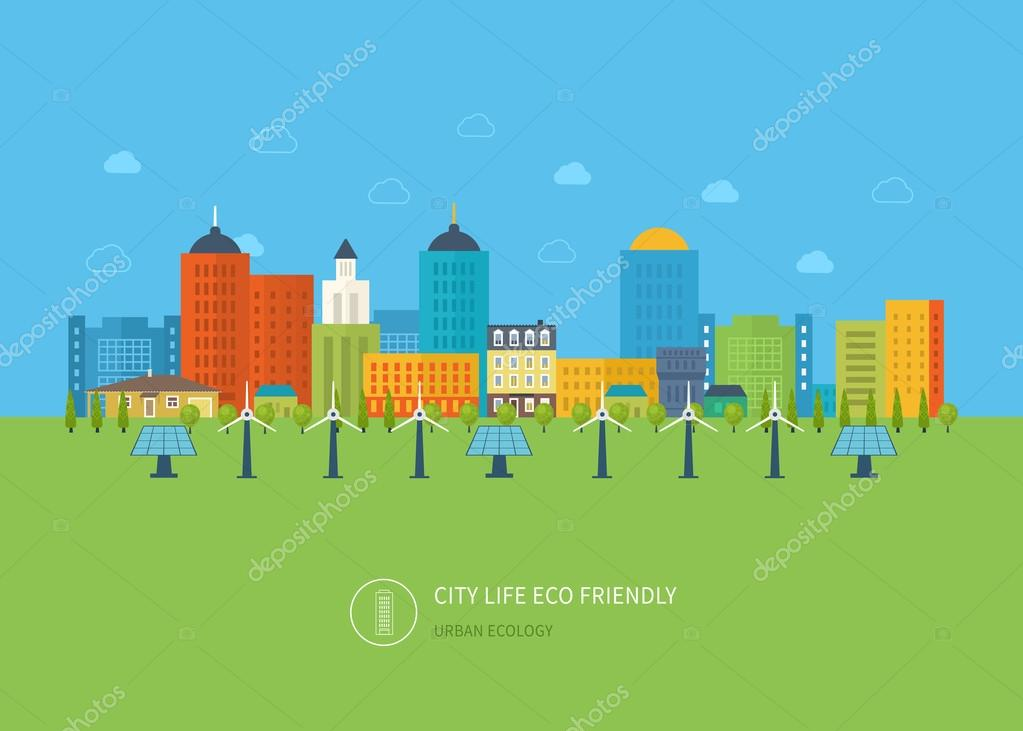 Urban landscape, icons of ecology, environment