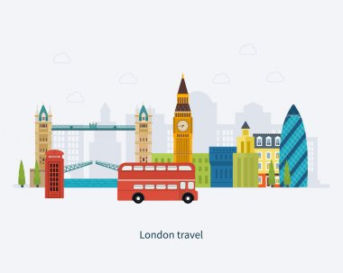 London city with bus and tower house