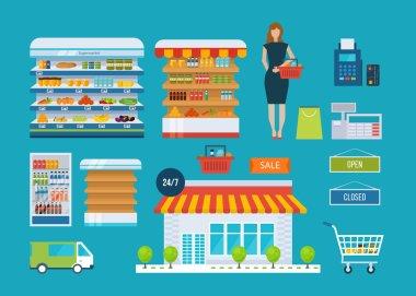 Supermarket store icons