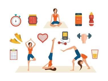 icons of healthy lifestyle, fitness and physical activity.