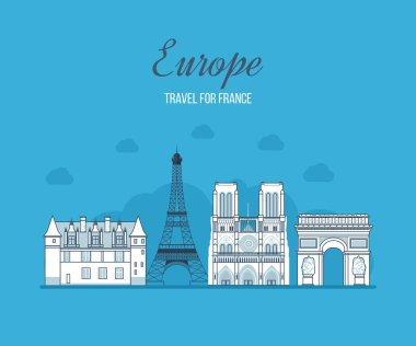French Landmarks. France travel