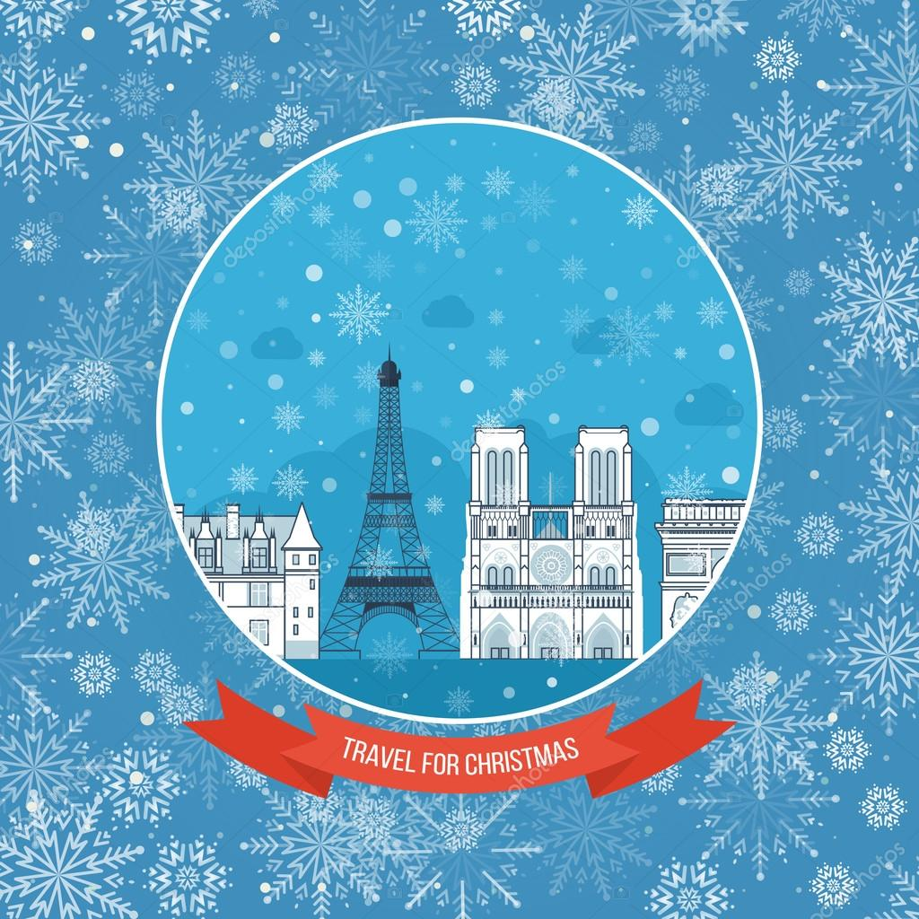 Travel to france for christmas invitation card vetor de stock travel to france for christmas invitation card vetor de stock stopboris Gallery
