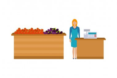 Young cashier woman standing in supermarket