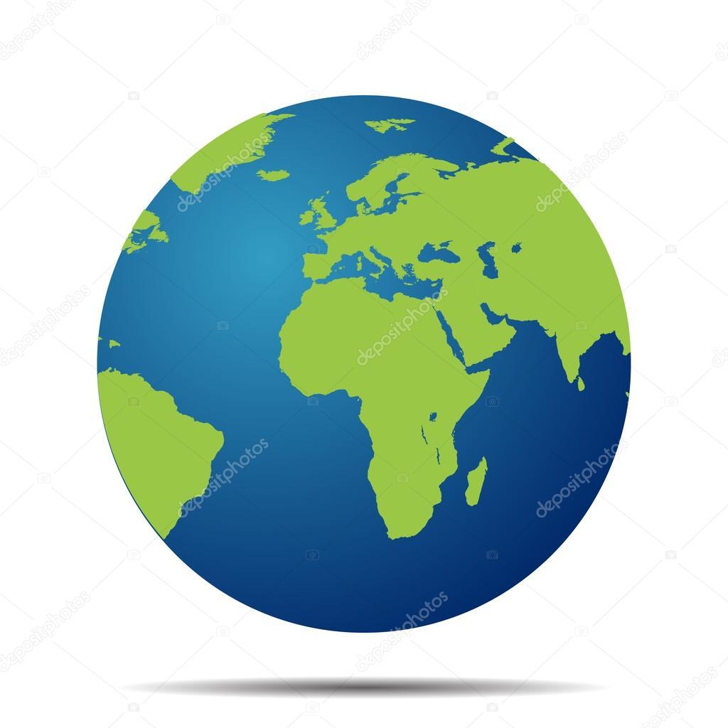 kaart de wereldbol met schaduw op witte achtergrond