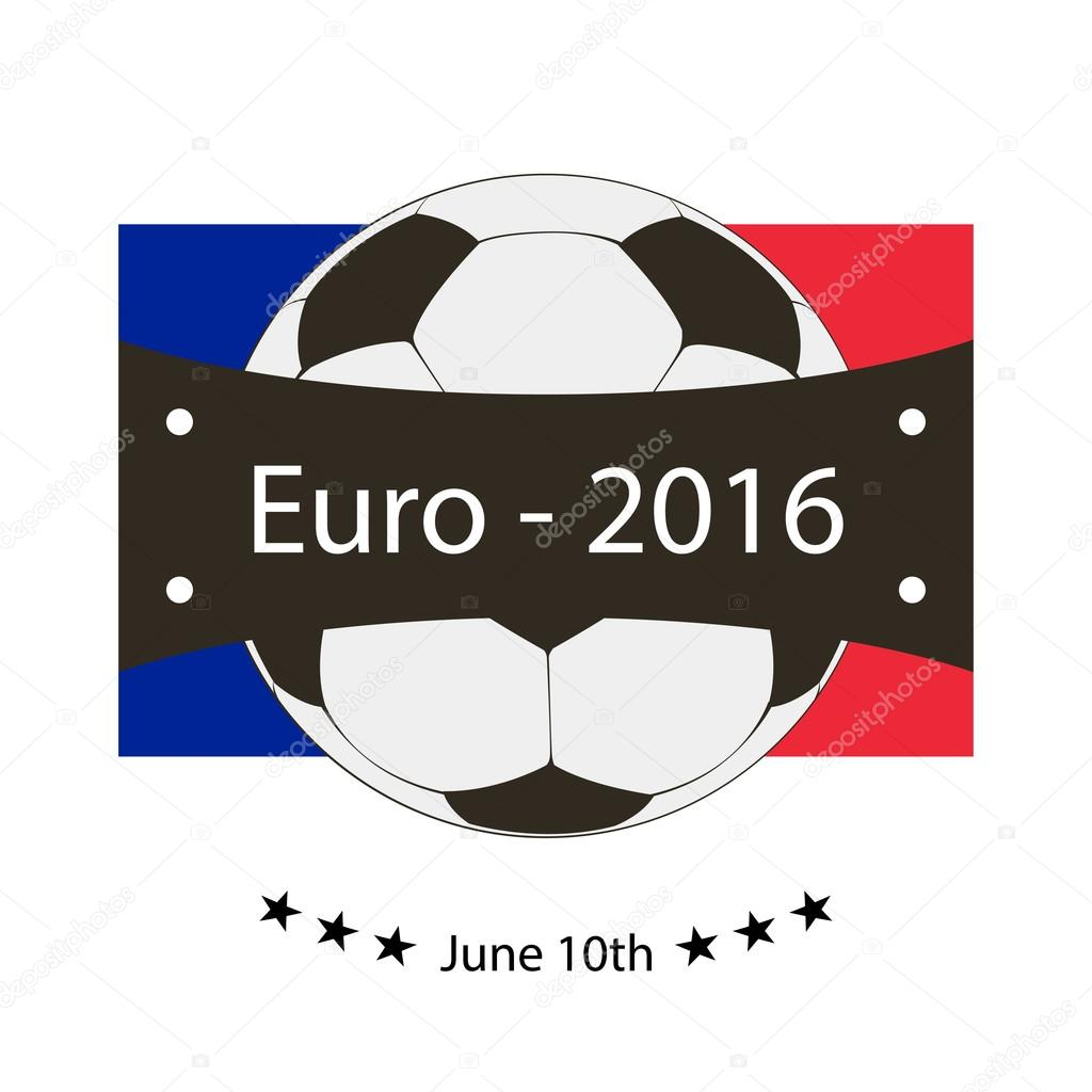 Logo emblem on the Euro 2016 stylish vector illustration