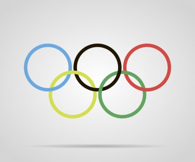 Circles painted olympic rings over grey background