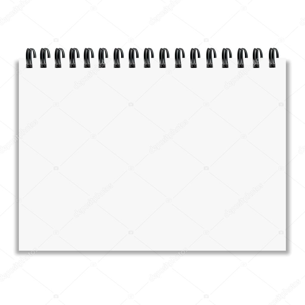 Leaf notebook with shadow on white background vector illustration