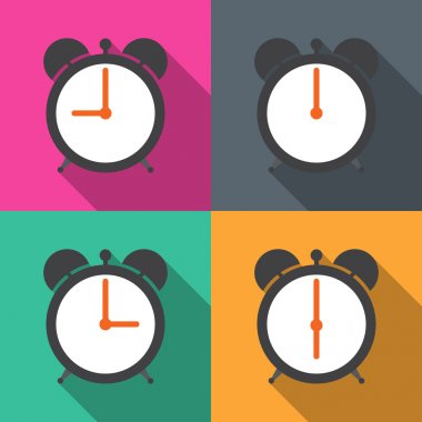 Set alarm clocks with different time from morning till dinner vector