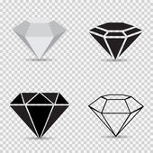 Ikony různé diamanty na vector šedou kostkovanou