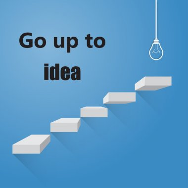 Stairway to go to ideas bright idea, on colorful background