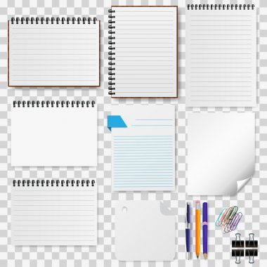 A set of stationery paper, notepads vector illustration