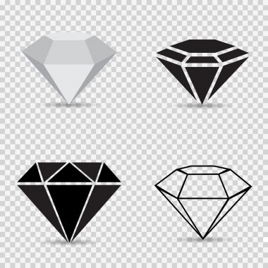 Icons variety diamonds on a gray checkered background vector