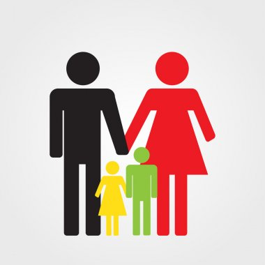 Happy family icon color, vector illustration parents and two children