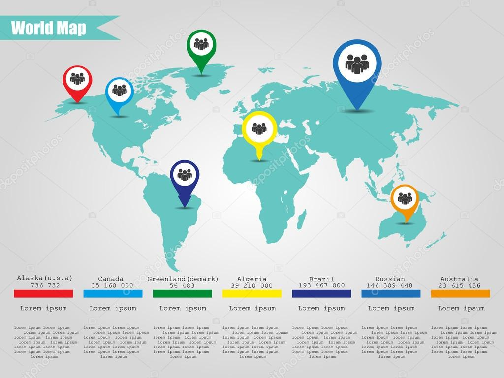 Colorful modern infographic world map vector illustrator stock colorful modern infographic world map vector illustrator stock vector gumiabroncs Images