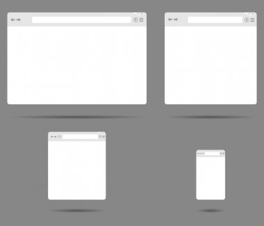 Set of simple browser windows on a gray background vector