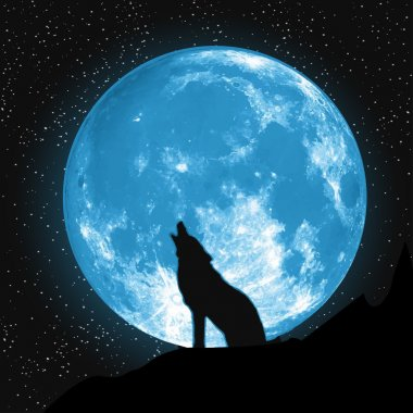 Moon view from the ground. Howling Wolf, Elements of this vector furnished by NASA clip art vector