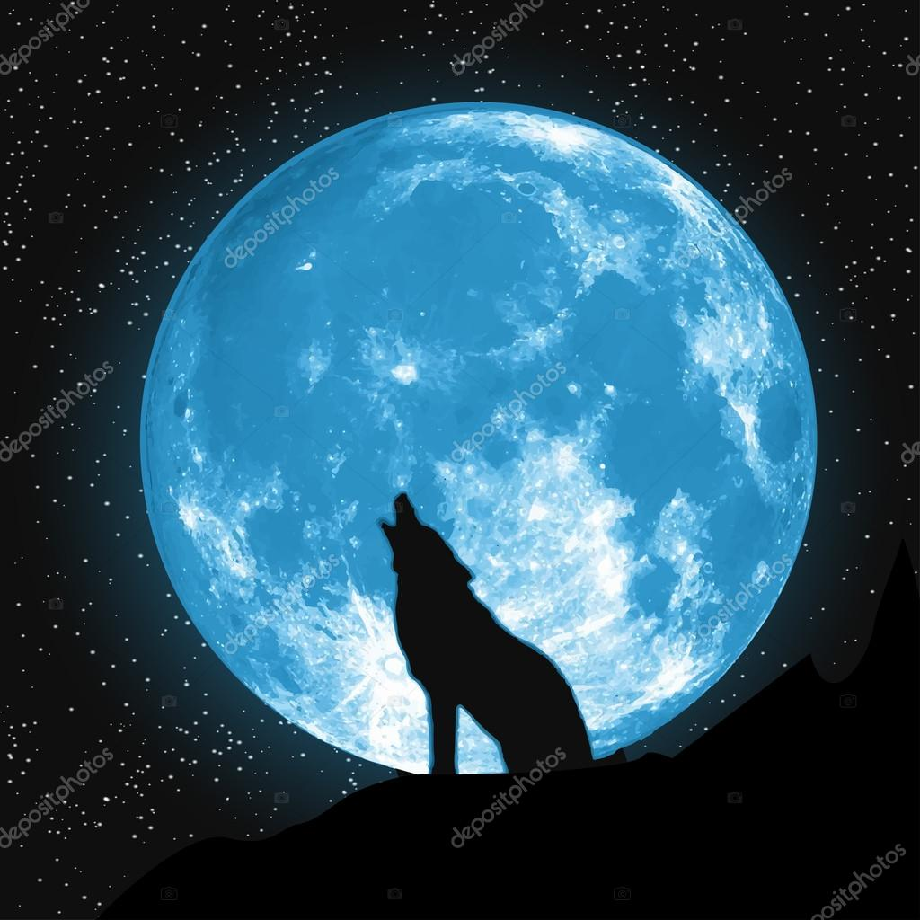 Moon view from the ground. Howling Wolf, Elements of this vector furnished by NASA