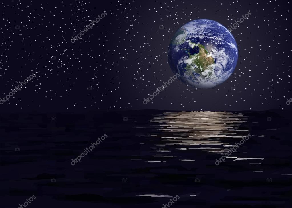 View of planet earth from the space sea.Elements of this vector furnished by NASA