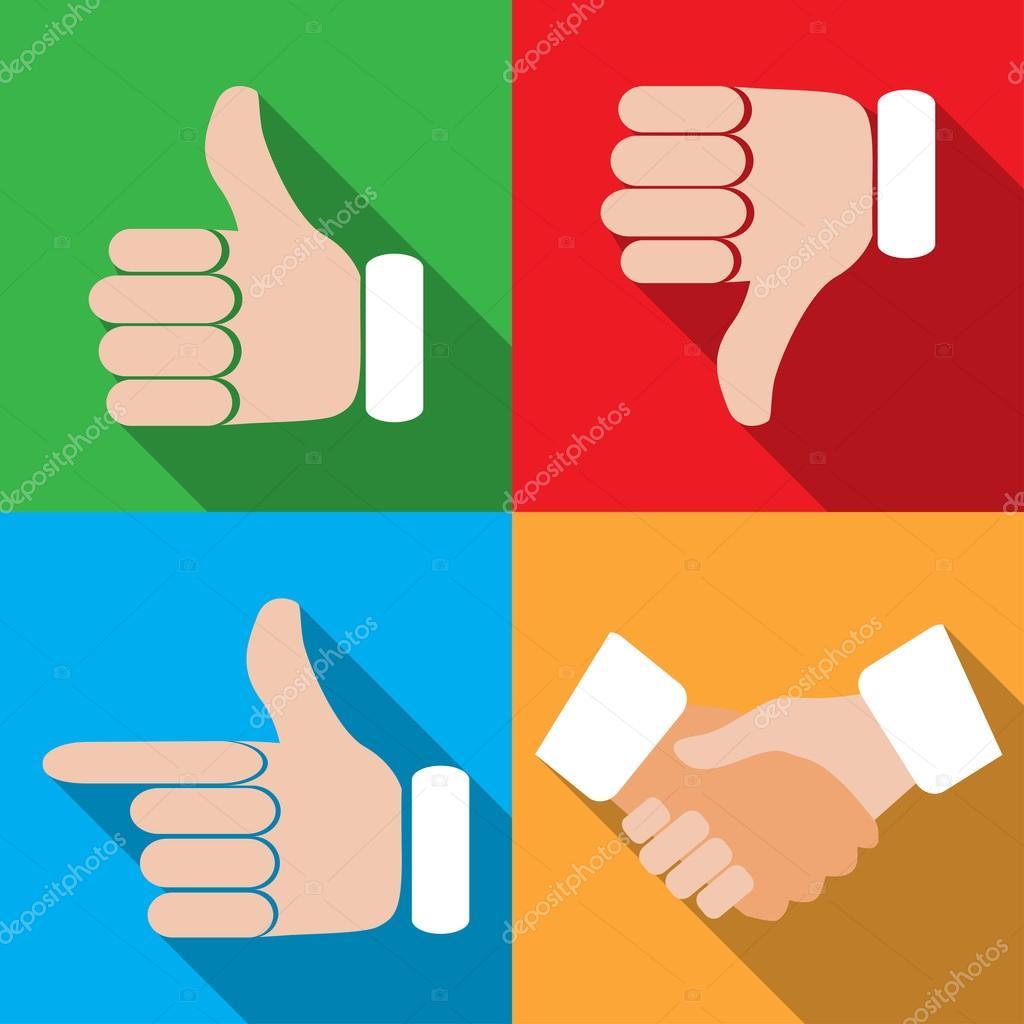 Set of different hand gestures