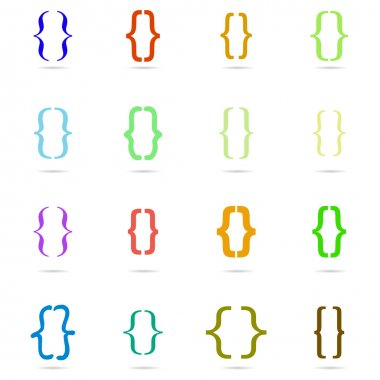 Curly colored bracket icon set