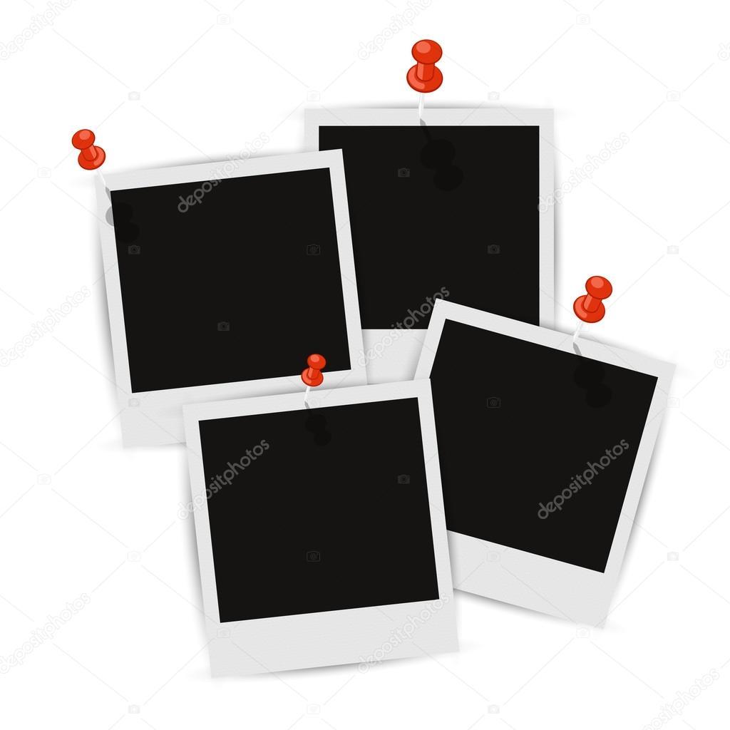 Vier Bilderrahmen an der Wand mit Schatten — Stockvektor ...