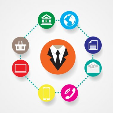 Business icons flat vector illustration Communication