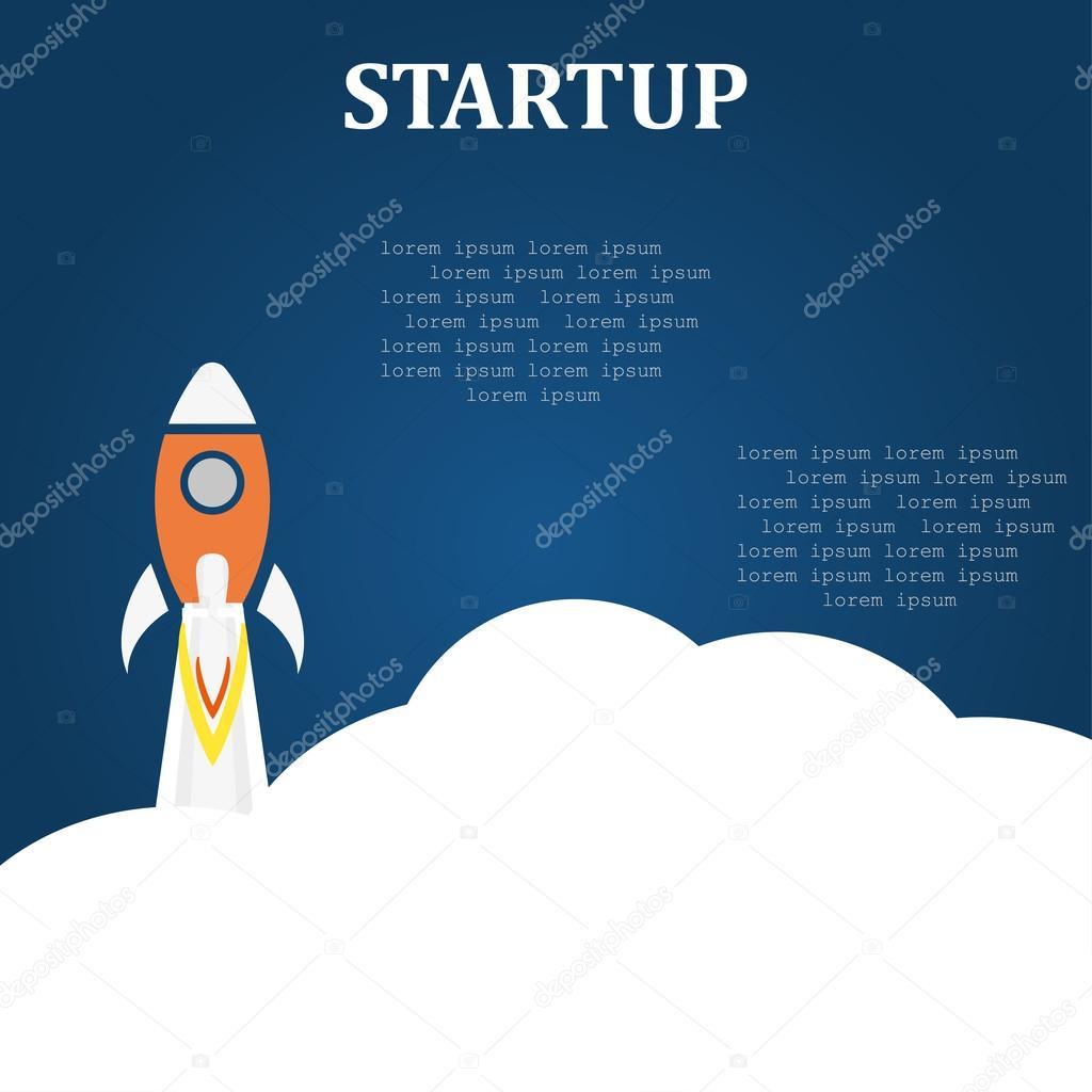 Business startup launch concept flat design blue background