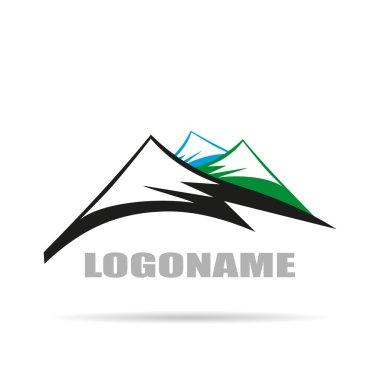 Logo company with Mountain , flat design on white background