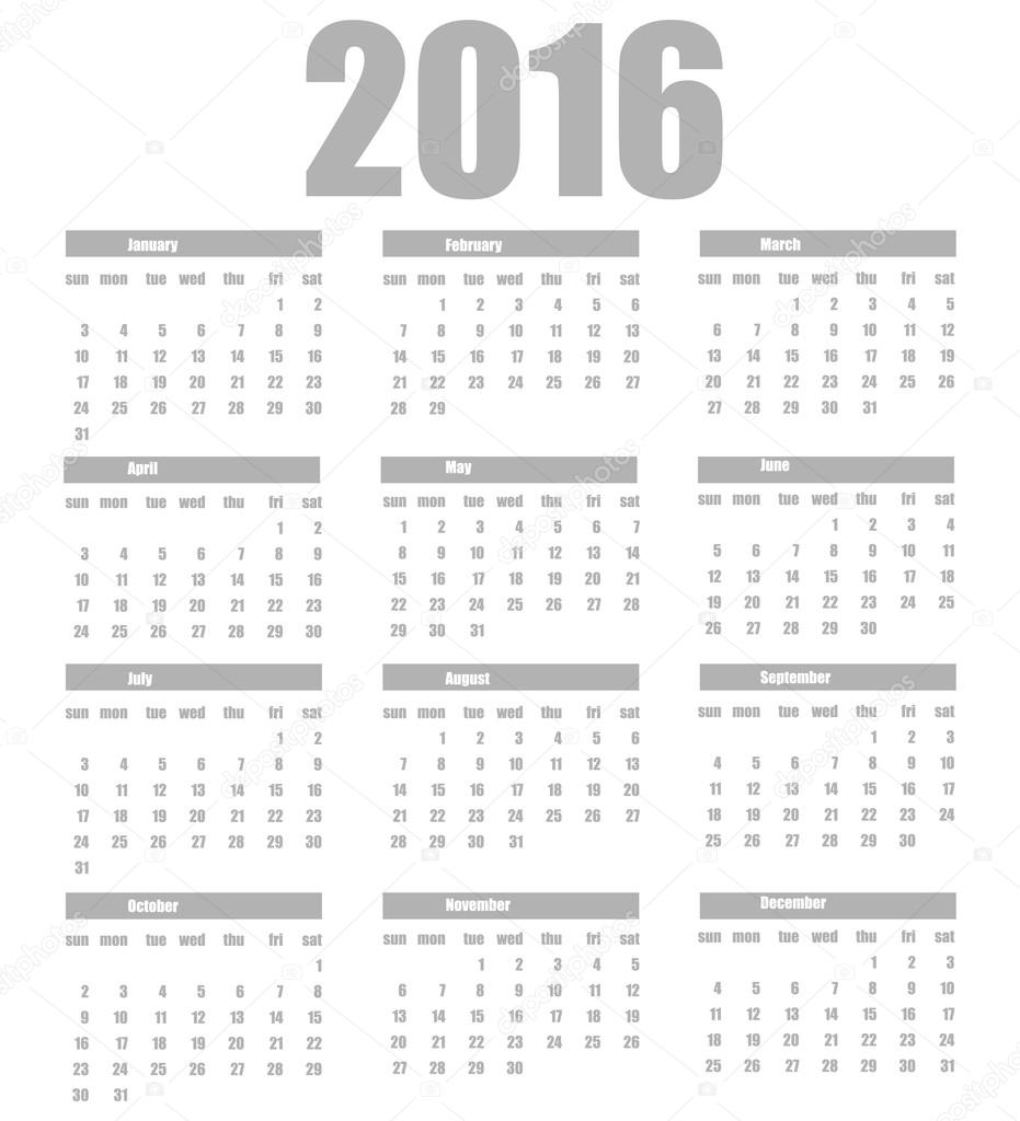 Plantilla calendario 2016 sobre un fondo blanco — Vector de stock ...