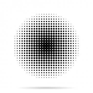Halftone dots radial with shadow on white background