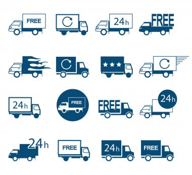 Set of logos delivery vehicles in different versions