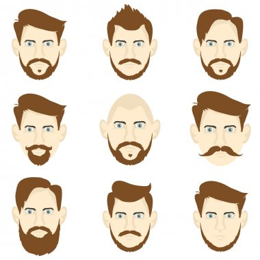 Set of men with different hairstyles and beards, hipster style