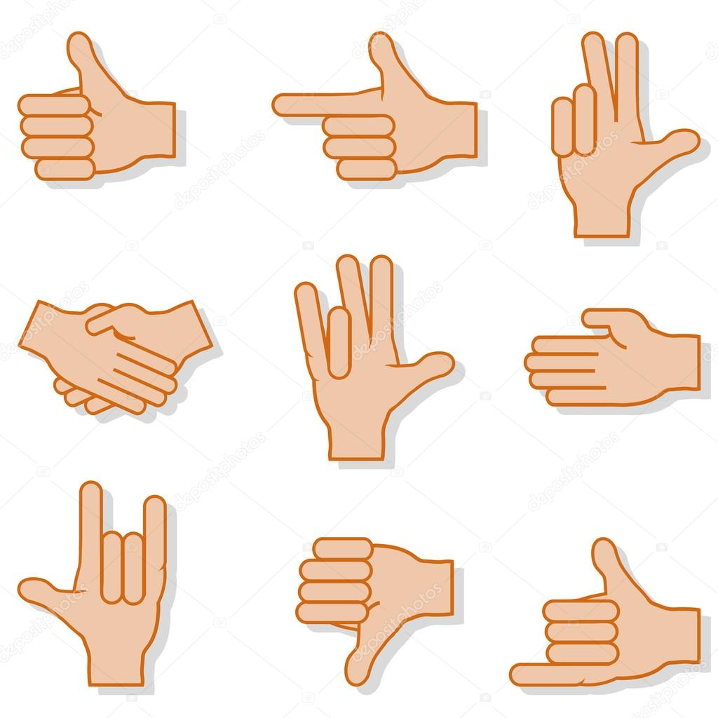 Set of gestures hands with shadow on a white background