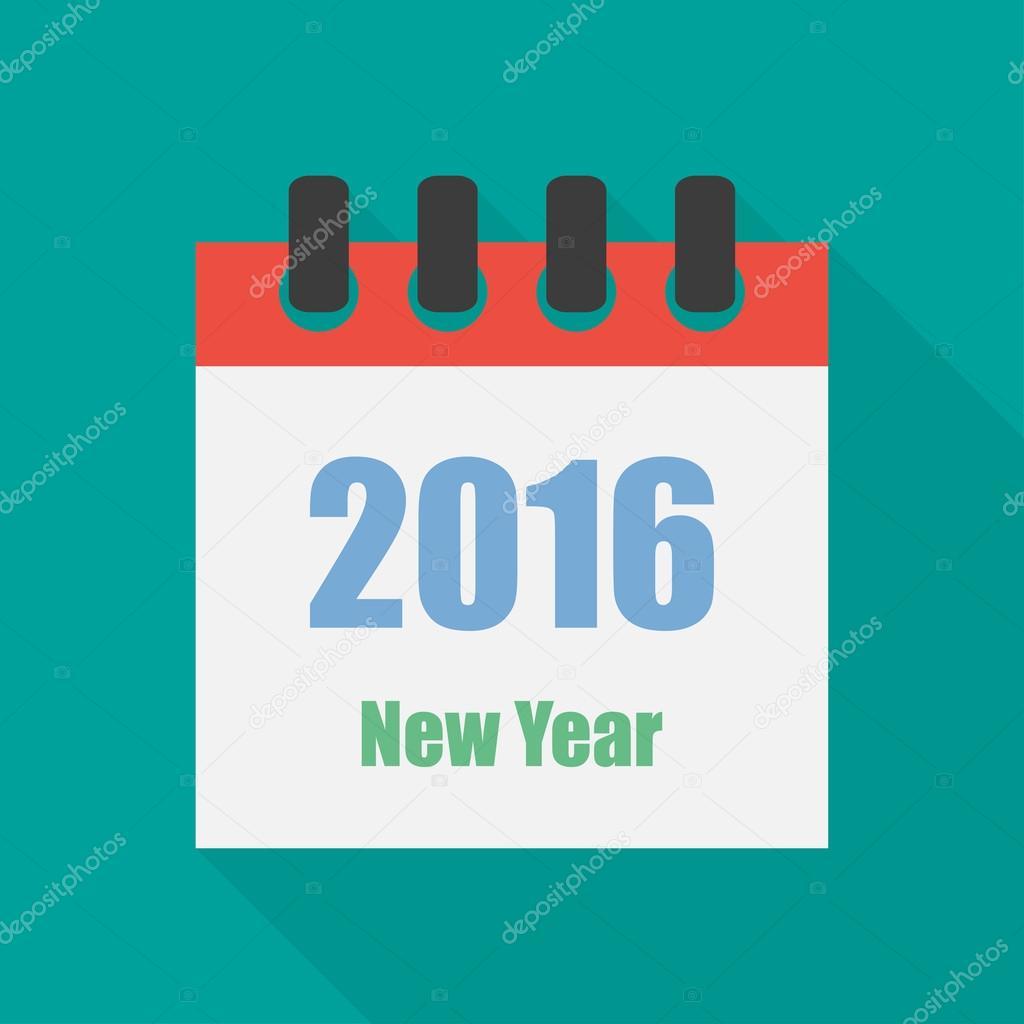 e4cdb4095ca7 Icône calendrier plat style nouvel an avec ombre portée– illustration de  stock