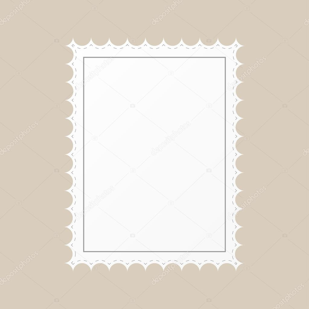 template empty postage stamp on a brown background stock vector