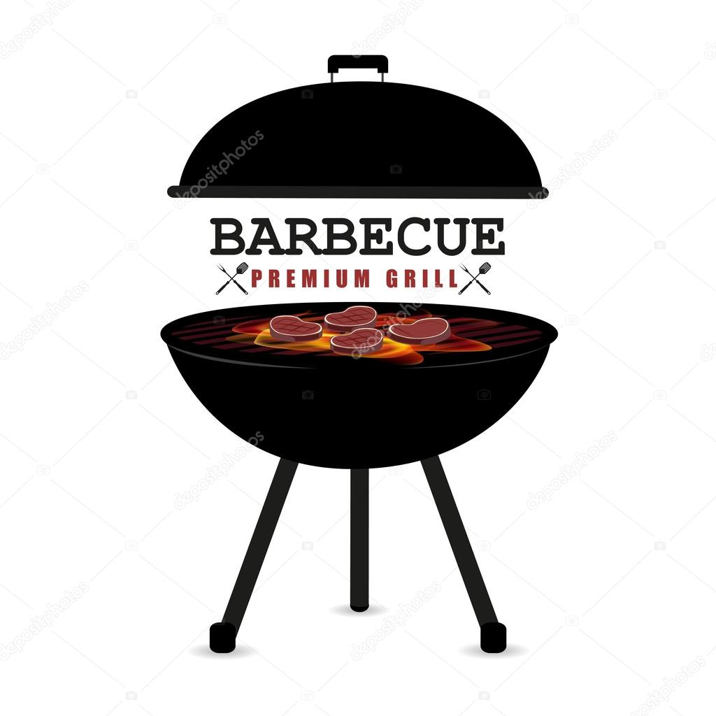 Dessin Barbecue bbq on a white background stylish illustration — stock vector