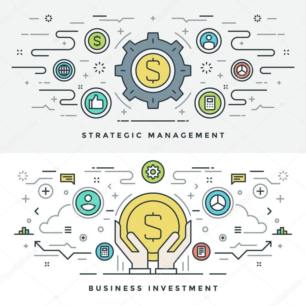 Flat line Investment and Business Strategy Concept Vector illustration. Modern thin linear stroke vector icons.