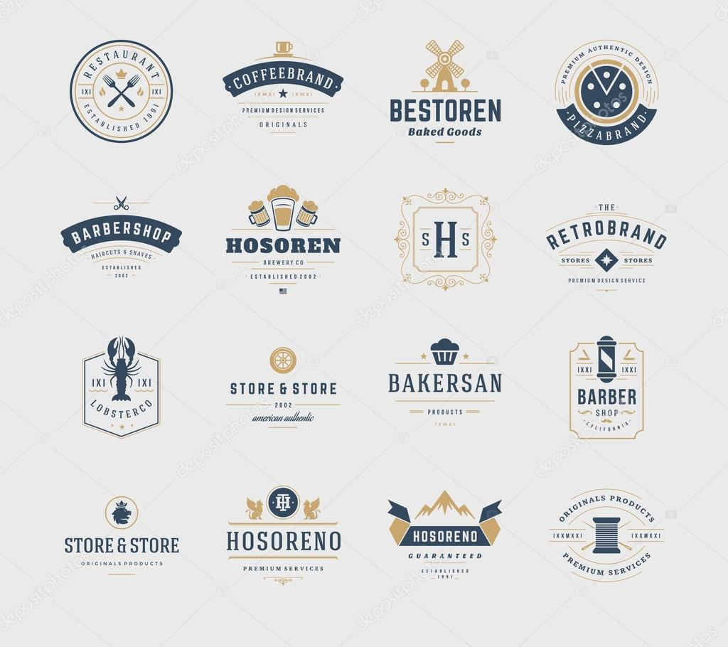 Vintage logos design templates set vector design elements logo vector design elements logo elements logo symbols logo icons logos vector symbols design retro logos beer logo restaurant logo ornament logo buycottarizona Image collections