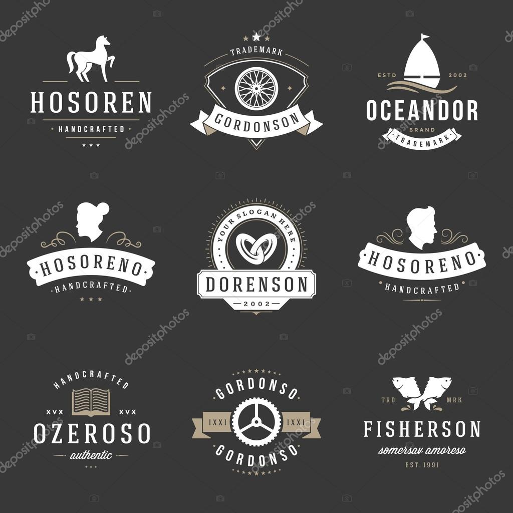 vintage logos design templates set vector design elements logo elements grafika wektorowa. Black Bedroom Furniture Sets. Home Design Ideas